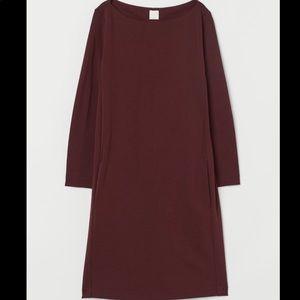 h&m long sleeve jersey boatneck dress size M